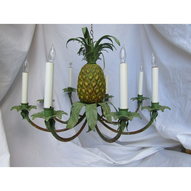 Transitional Hand Painted Pineapple Chandelier - Image 2 of 5