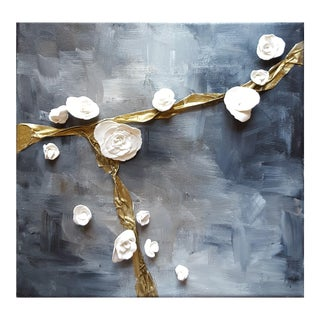 Contemporary Abstract Acrylic Painting With Sculpted Flowers For Sale