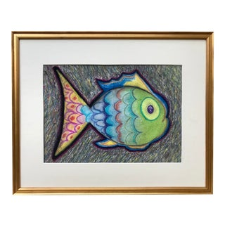 Vintage Mid Century Expressionist Pastel Drawing of Tropical Fish For Sale