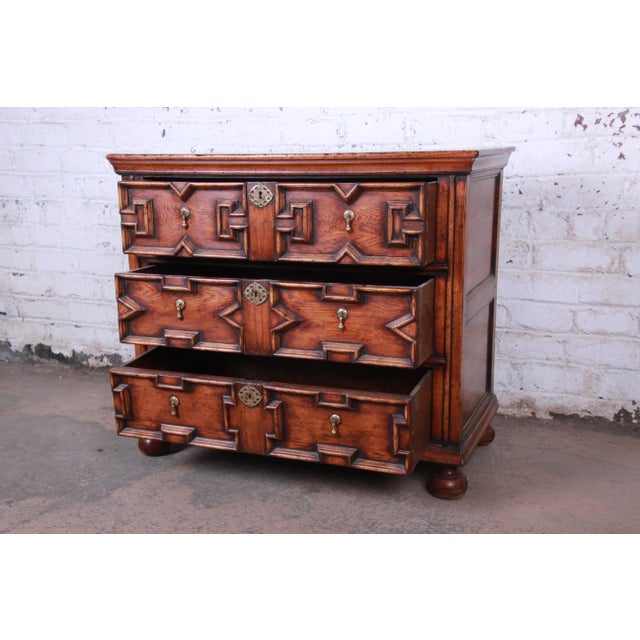1950s Antique Carved Oak Three-Drawer Bachelor Chest For Sale - Image 5 of 12