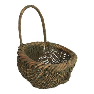 Early 20th Century Splint Oak American Basket For Sale