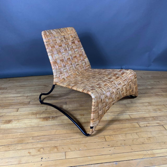 Brown Continental Woven Cane and Blackened Steel Lounge Chair For Sale - Image 8 of 12