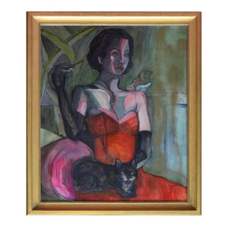 Vintage Hollywood Style Portrait of Glamorous Woman & Cat Painting For Sale