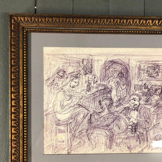 Expressionism Original Vintage Ink Drawing Interior Bar Scene W/ Figures For Sale - Image 3 of 7