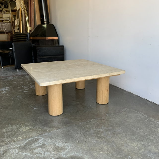 Rounded Edge Square Travertine Coffee Table For Sale - Image 9 of 13