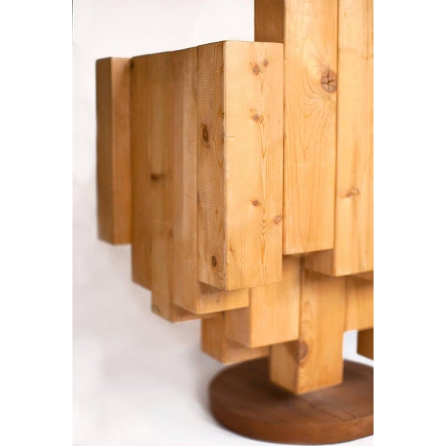 Giorgio Marian Italian Sculptural Cubist Pine Wood Armchair For Sale In New York - Image 6 of 8