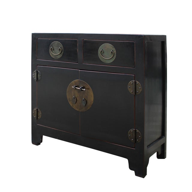 Elm Vintage Distressed Black Lacquer Oriental Chinese Side Table Cabinet For Sale - Image 7 of 8