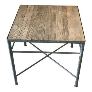 Industrial Wood & Metal Side Table For Sale