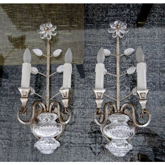 Banci Crystal Silver Gilt Flower Wall Sconces - a Pair For Sale - Image 12 of 13