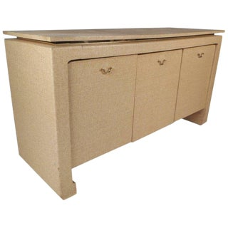 Mid-Century Modern Karl Springer Style Grass Cloth Credenza For Sale