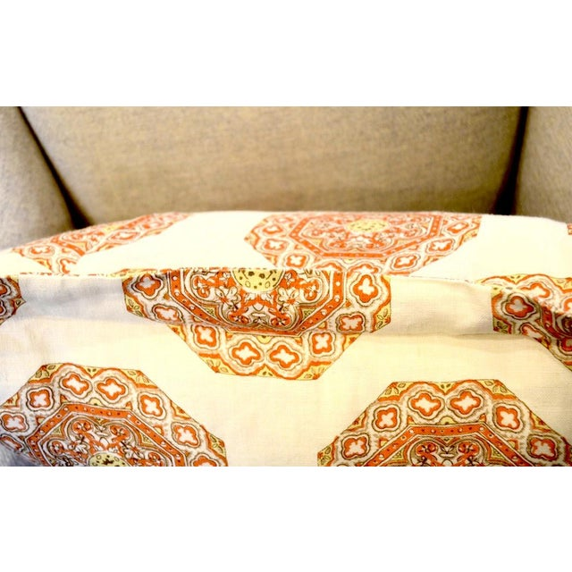 Traditional Quadrille Medallion Melon Camel on Cream Pillow For Sale - Image 3 of 4