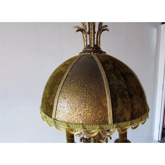 French Brass & Velvet Pendant Light For Sale - Image 4 of 7