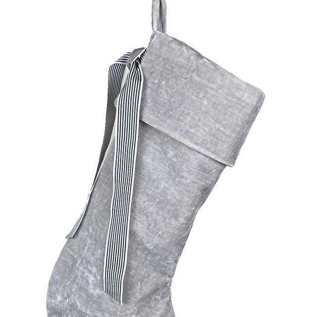 French Silver Velvet Christmas Stocking For Sale - Image 3 of 6