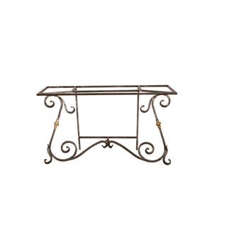 French Iron and Brass Console Table For Sale