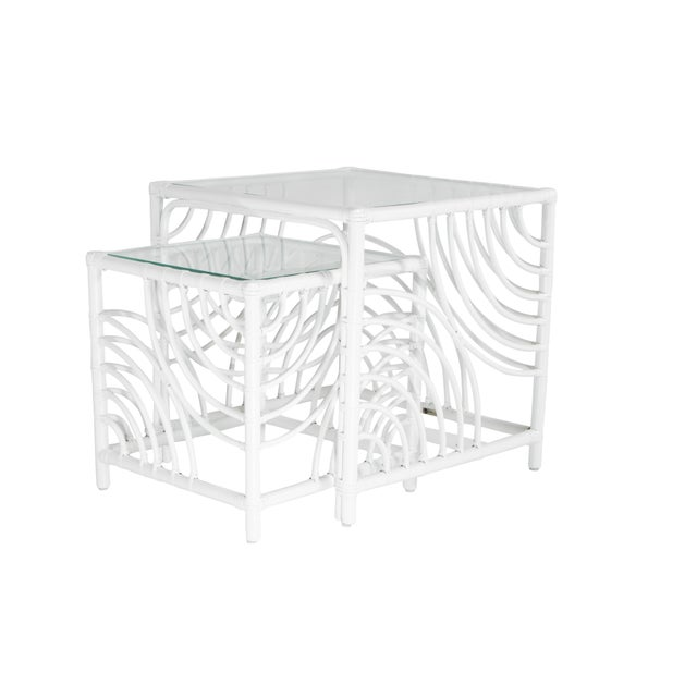 Coastal Swirl Nesting Tables - White For Sale - Image 3 of 7