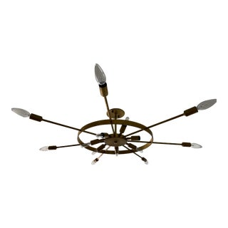 Custom Thomas Hayes Brass Wheel Chandelier For Sale