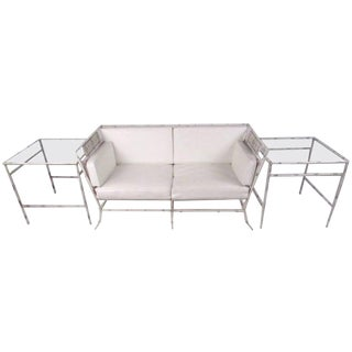 Vintage Salterini Faux Bamboo Patio Set With Sofa and Side Tables For Sale