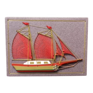 1975 Ship Motif Mixed Media String Art by Dexter A. Smith For Sale