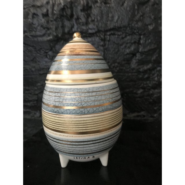 Mid Century Sascha Brastoff Abstract Series Stripe Egg Jar Signed For Sale - Image 10 of 11