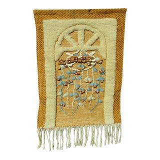 Vintage Embroidered Fiber Textile Jute Woven Hanging