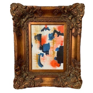 Abstract Original Colorful Painting in Elaborate Vintage Frame For Sale