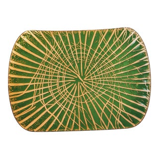 California Mid Century Abstract Green Enamel Dish Artist Signed AnneMarie Davidson For Sale