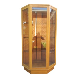 Danish Modern Teak Lighted Corner Curio Cabinet by Komfort Furniture For Sale