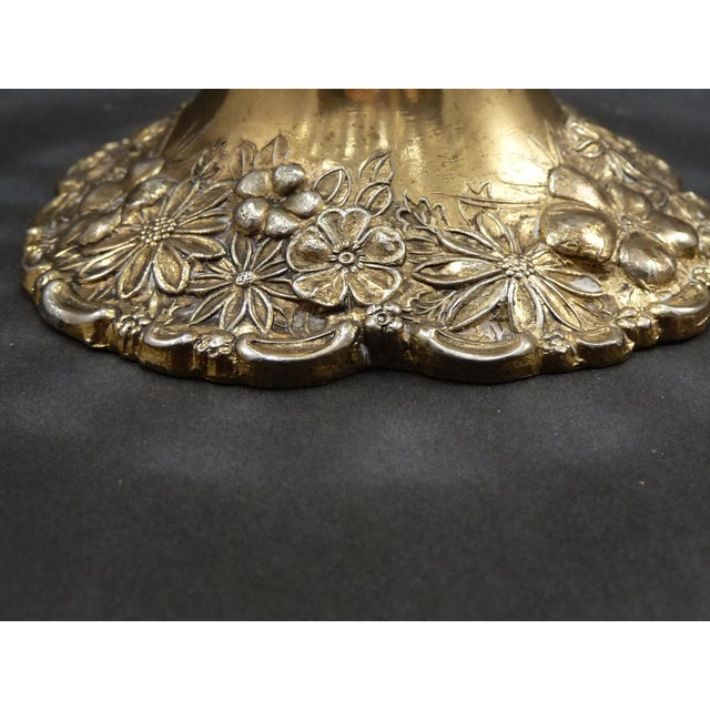 Vintage Cut Crystal Compote Dish on Metal Pedestal For Sale In New Orleans - Image 6 of 8