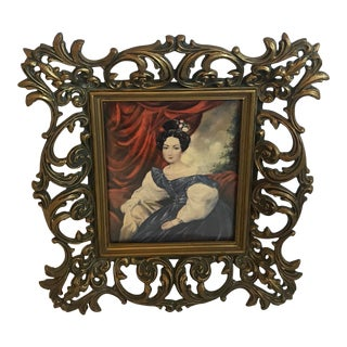 """Vintage """"Portrait of a Lady"""" In Concave Glass Print For Sale"""