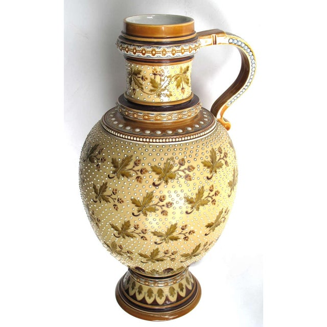 Traditional Good Quality Pair of German Mettlach Pottery Ewers With Impressed Maker's Mark For Sale - Image 3 of 8