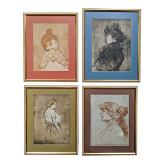 French Women Portrait Prints of 19th Century Artworks by Painter and Artist, Henri De Toulouse-Lautrec. Lot of 4 For Sale