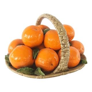 Vintage 1970s Ceramic Orange Fruit Basket For Sale