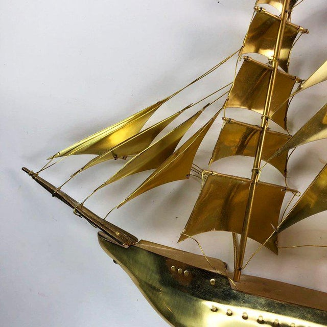 1970s Vintage Mid-Century Brass Ship Figurine For Sale - Image 5 of 10
