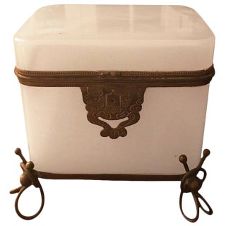French Opaline White Casket Box For Sale