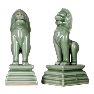 Celadon Guardian Lions Foo Dogs - A Pair