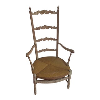 Rushed Seat Painted Bergere For Sale