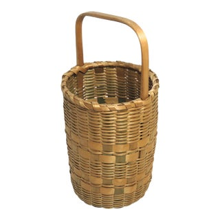 Vintage Rustic Maine Hand Woven Basket Circa 1930s For Sale