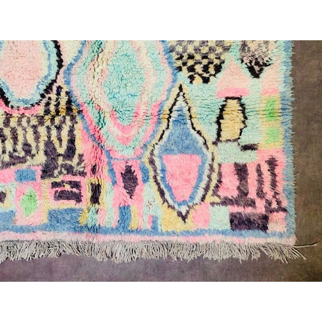 Sky Blue 1970s Authentic Moroccan Rug- 5′3″ × 8′4″ For Sale - Image 8 of 10