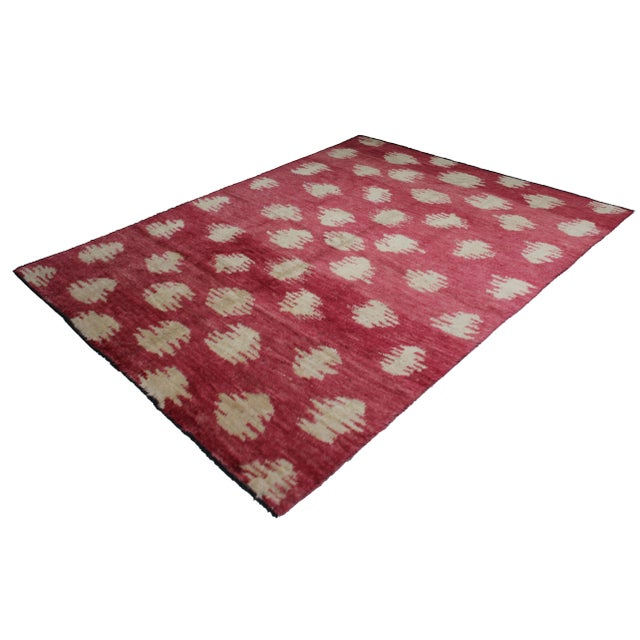 A beautiful handmade Ikat rug. Woven in by Aara Rug hands. This rug is made of 75% wool and 25% cotton. This modern piece...