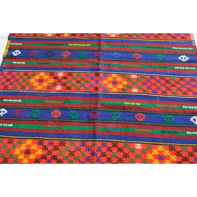 Textile Turkish Hand-Woven Kilim Rug - 5′10″ X 10′11″ For Sale - Image 7 of 10