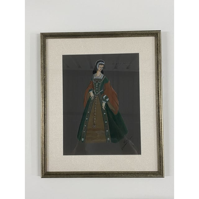 Original Framed Theater Costume Sketches by Autry - Set of 16 For Sale In Los Angeles - Image 6 of 13