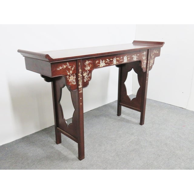 Chinese Rosewood Inlaid Altar Style Console Table For Sale - Image 9 of 9