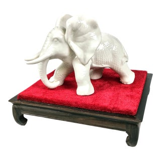 Vintage Porcelain Elephant With Stand For Sale