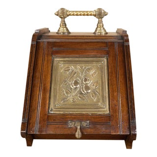 19th Century Oak & Brass Coal Scuttle For Sale