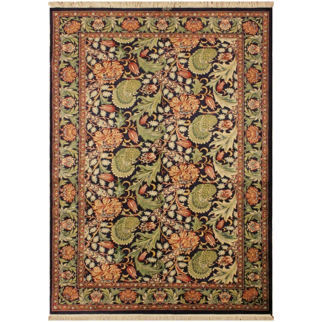 Blue Art Nouveau Pak-Persian Caridad Blue/Red Wool Rug - 4'7 X 7'1 For Sale - Image 8 of 8
