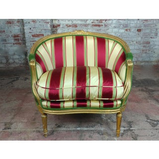 19th C. Louis XVI Bergere Chair W/Red & Yellow Striped Silk Upholstery Preview