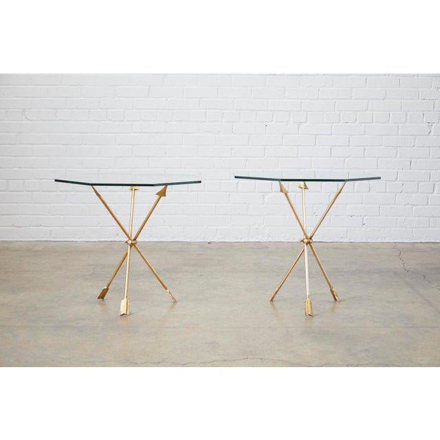Gold Pair of Maison Jansen Style Directoire Arrow Drink Tables For Sale - Image 8 of 13