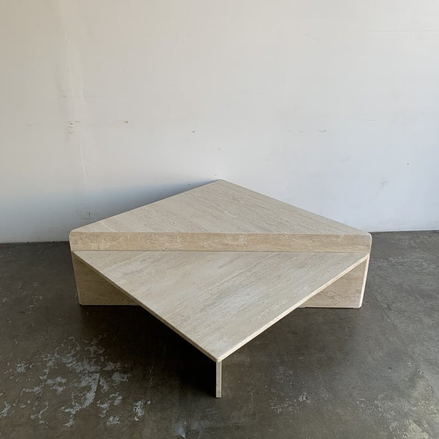 Off-white Travertine Triangular Coffee Tables-A Pair For Sale - Image 8 of 13