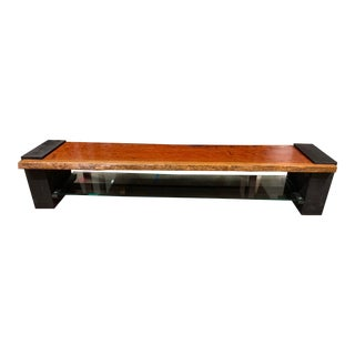 Custom Handcrafted African Rosewood + Glass Media Console/Bench For Sale