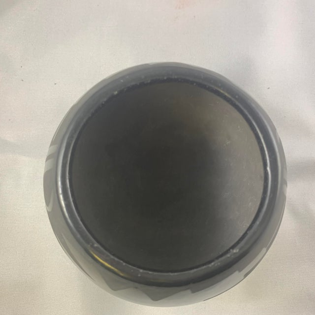 Clay Southwest Santa Clara Black on Black Matte Black Ware Jar by Lucaria Tafoya For Sale - Image 7 of 13